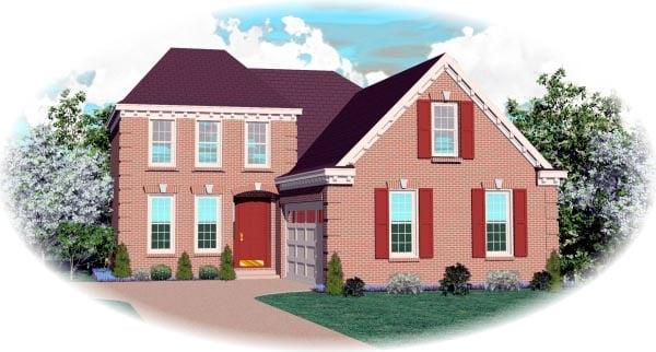 European House Plan 46493 Elevation
