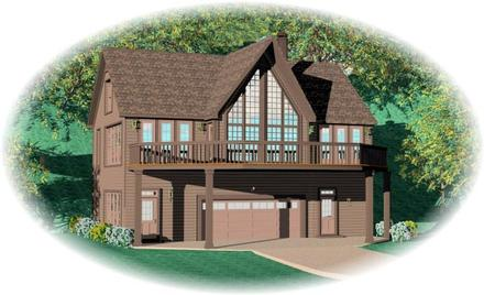 Contemporary House Plan 46497 with 2 Beds, 2 Baths, 2 Car Garage
