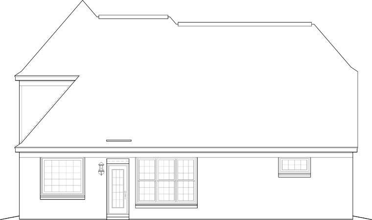 European House Plan 46587 Rear Elevation