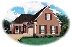 Traditional House Plan 46612 with 3 Beds, 3 Baths, 2 Car Garage Elevation