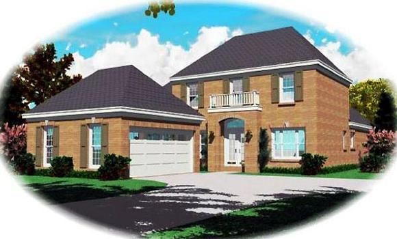 Narrow Lot, Traditional House Plan 46615 with 4 Beds, 3 Baths, 2 Car Garage Elevation