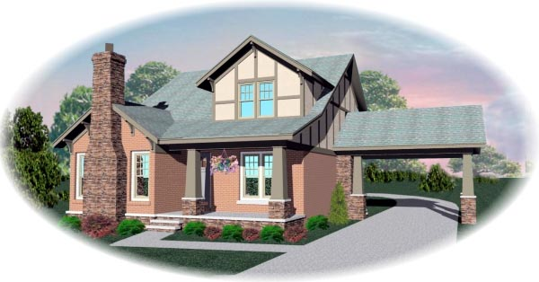 Tudor House Plan 46621 with 4 Beds, 3 Baths, 2 Car Garage Elevation