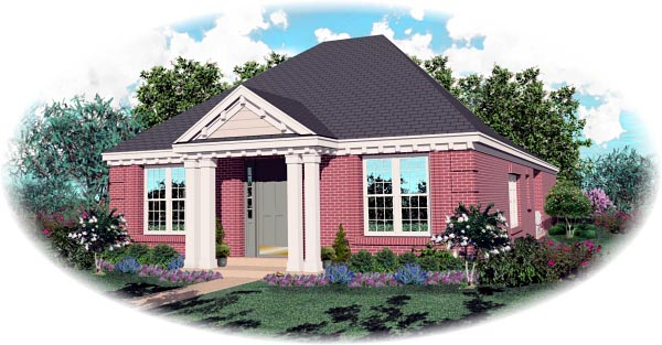 Colonial, Narrow Lot, One-Story House Plan 46717 with 2 Beds, 2 Baths, 2 Car Garage Elevation
