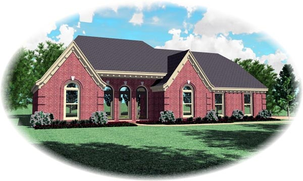 European House Plan 46796 Elevation