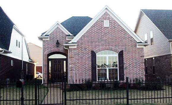 Narrow Lot, One-Story House Plan 46980 with 2 Beds, 2 Baths, 2 Car Garage Elevation