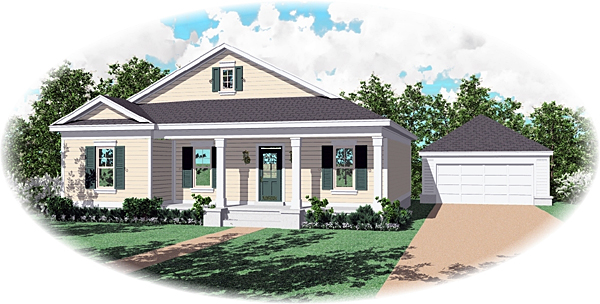 Country, One-Story House Plan 47005 with 3 Beds, 2 Baths Elevation