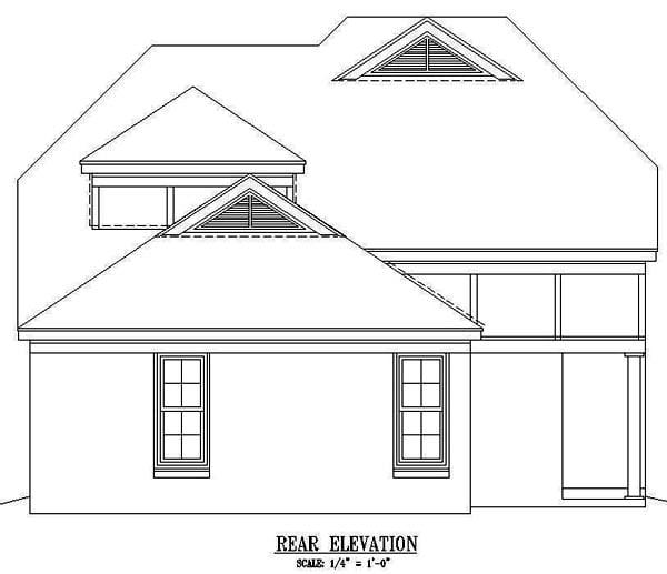 House Plan 47066 Rear Elevation