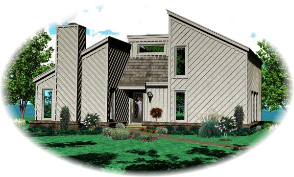 Narrow Lot, One-Story, Traditional House Plan 47379 with 2 Beds, 1 Baths Elevation