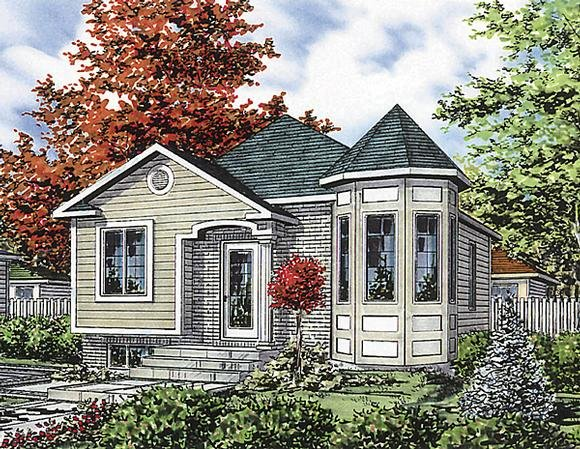 Bungalow, Narrow Lot, One-Story House Plan 48024 with 2 Beds, 1 Baths Elevation