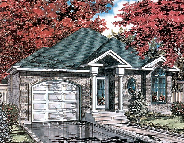 Bungalow, Narrow Lot, One-Story House Plan 48025 with 2 Beds, 1 Baths, 1 Car Garage Elevation