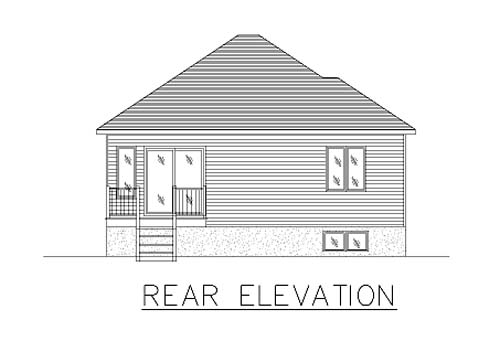 Bungalow, Narrow Lot, One-Story House Plan 48025 with 2 Beds, 1 Baths, 1 Car Garage Rear Elevation