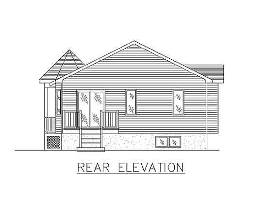 Bungalow House Plan 48030 with 2 Beds, 1 Baths Rear Elevation