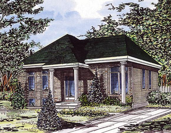 Bungalow, Narrow Lot, One-Story House Plan 48036 with 3 Beds, 1 Baths Elevation