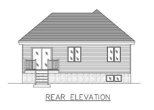 Bungalow, Narrow Lot, One-Story House Plan 48036 with 3 Beds, 1 Baths Rear Elevation