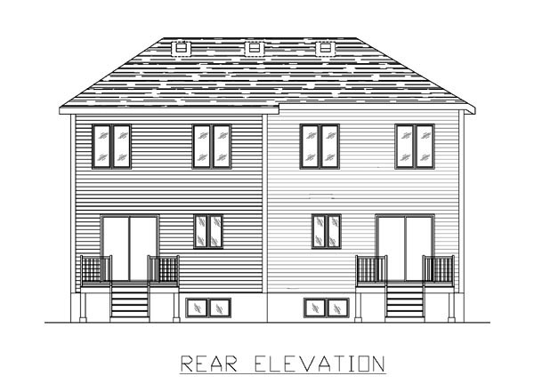 Rear Elevation of Multi-Family Plan 48046