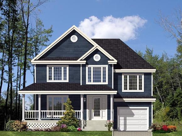 Country, European, Narrow Lot House Plan 48064 with 3 Beds, 1 Baths, 1 Car Garage Elevation