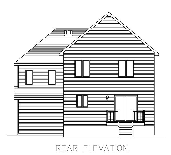 Country, European, Narrow Lot House Plan 48064 with 3 Beds, 1 Baths, 1 Car Garage Rear Elevation