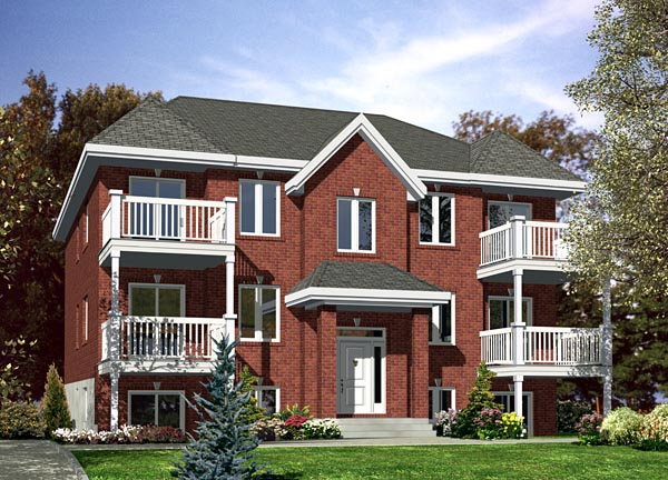 Multi family plan 48066 at for Quad apartment plans