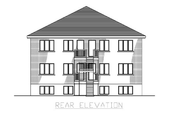 Multi-Family Plan 48066 with 12 Beds, 6 Baths Rear Elevation