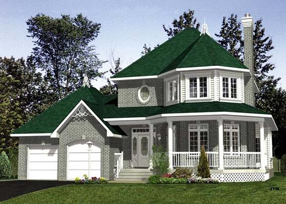 Victorian House Plan 48082 with 3 Beds, 2 Baths, 2 Car Garage Elevation