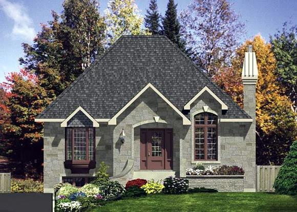 European, Narrow Lot, One-Story House Plan 48123 with 3 Beds, 1 Baths Elevation