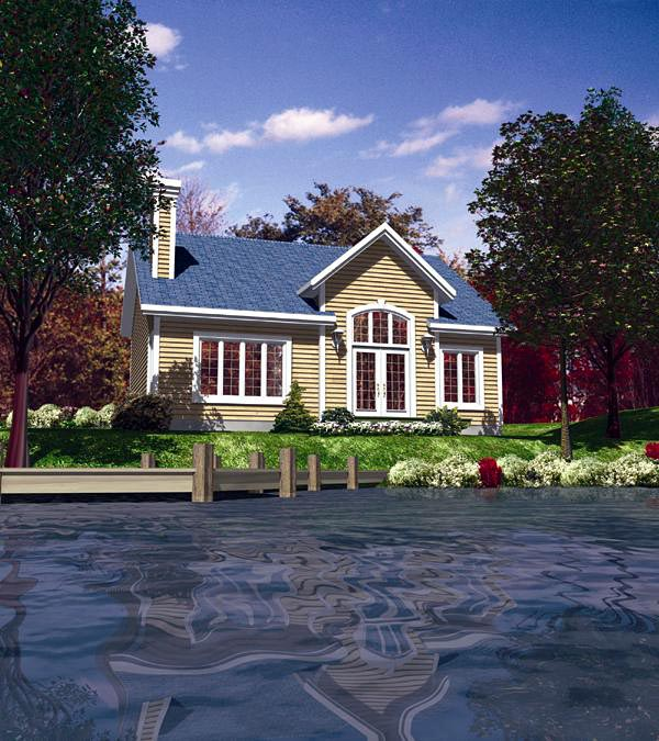 Narrow Lot, One-Story, Traditional House Plan 48157 with 2 Beds, 1 Baths Elevation