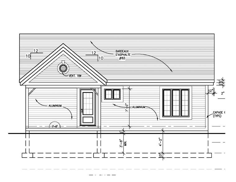 Narrow Lot, One-Story, Traditional House Plan 48157 with 2 Beds, 1 Baths Rear Elevation