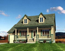 Cape Cod , Narrow Lot House Plan 48171 with 3 Beds, 2 Baths, 1 Car Garage Elevation