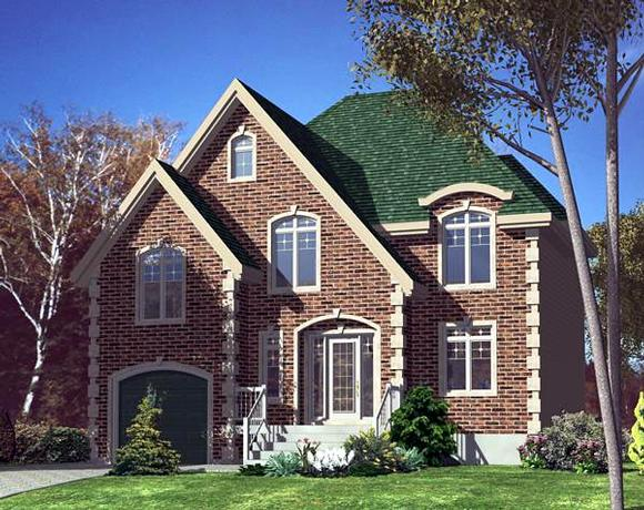 Narrow Lot, Victorian House Plan 48181 with 3 Beds, 2 Baths, 1 Car Garage Elevation