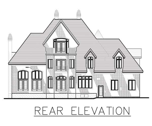 European House Plan 48195 Rear Elevation
