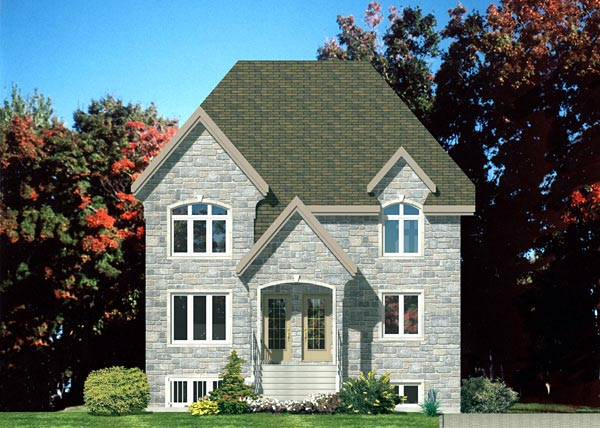 European, Narrow Lot Multi-Family Plan 48214 with 6 Beds, 3 Baths Elevation