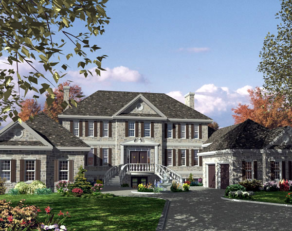 Colonial, European House Plan 48225 with 3 Beds, 3 Baths, 2 Car Garage Elevation