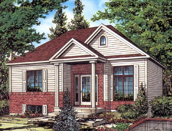 European House Plan 48253 with 2 Beds, 1 Baths Elevation