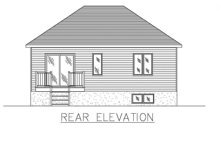 European House Plan 48253 with 2 Beds, 1 Baths Rear Elevation