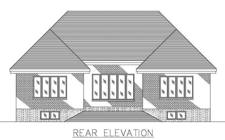 European House Plan 48254 Rear Elevation