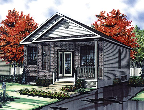 European House Plan 48260 with 2 Beds, 1 Baths Elevation