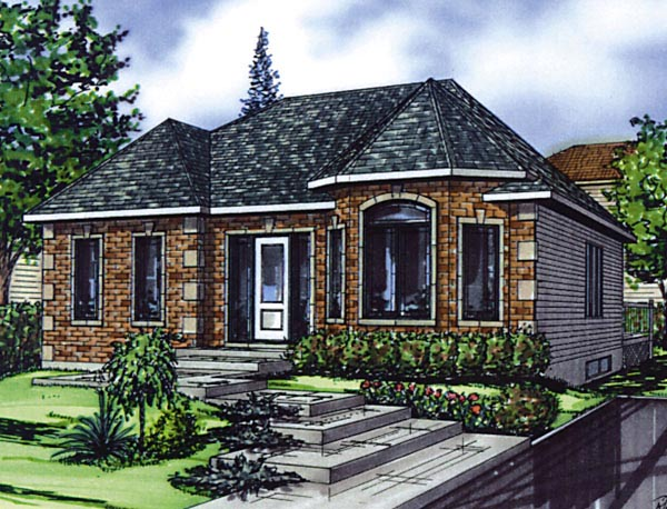 European House Plan 48262 with 5 Beds, 2 Baths Elevation