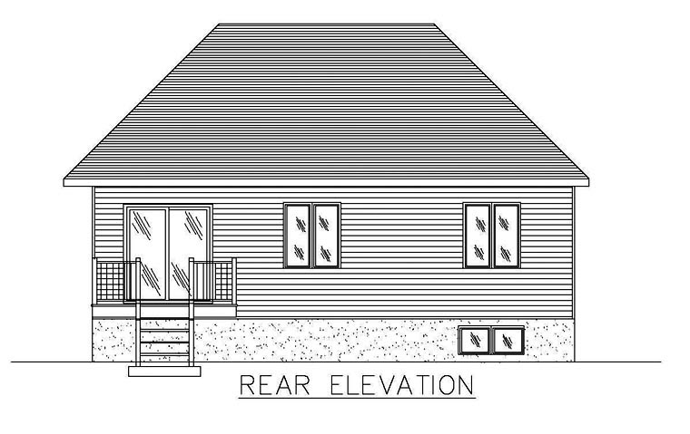 European House Plan 48262 with 5 Beds, 2 Baths Rear Elevation