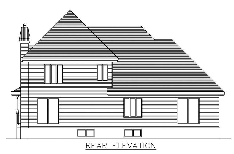 Rear Elevation of Southern   House Plan 48271