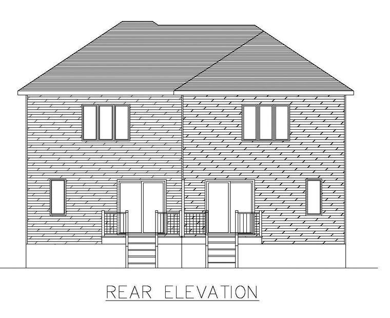 Multi-Family Plan 48298 with 6 Beds, 4 Baths Rear Elevation
