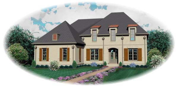 Country, European House Plan 48526 with 4 Beds, 5 Baths, 3 Car Garage Elevation