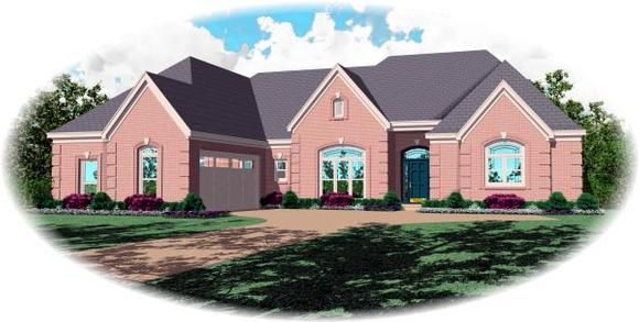 Country, European House Plan 48758 with 3 Beds, 4 Baths, 2 Car Garage Elevation