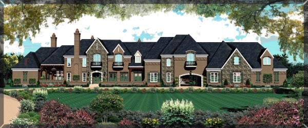 Country, European House Plan 48761 with 6 Beds, 4 Baths, 4 Car Garage Elevation