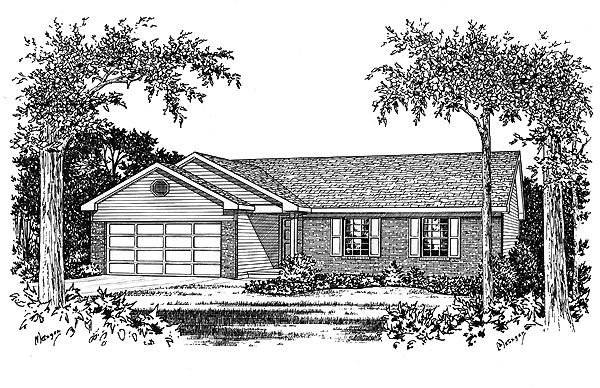 Ranch House Plan 49001 Elevation