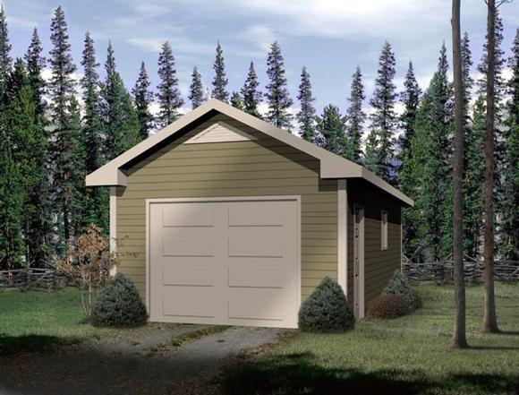 Traditional 1 Car Garage Plan 49018 Elevation