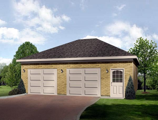 European 2 Car Garage Plan 49042 Elevation