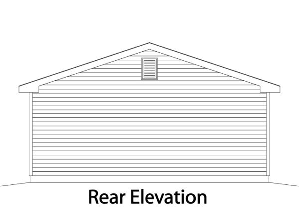 Rear Elevation of Garage Plan 49067