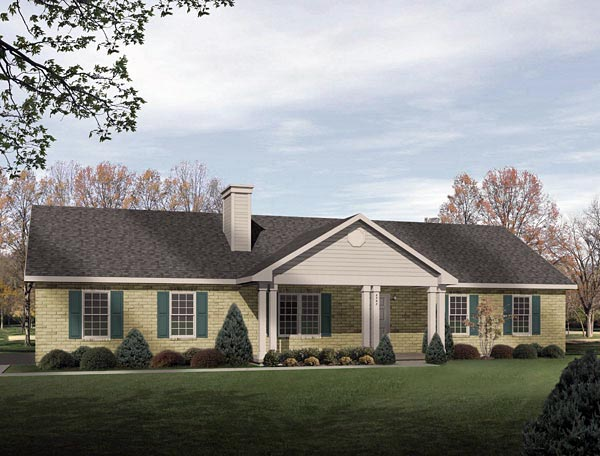 Ranch House Plan 49072 with 3 Beds, 2 Baths, 3 Car Garage Elevation