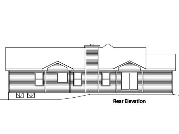 Ranch House Plan 49074 Rear Elevation