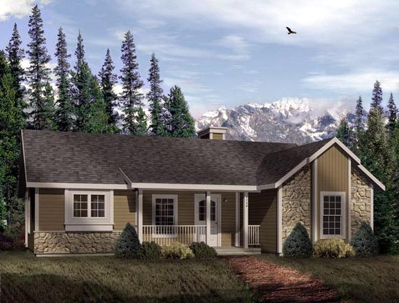 Craftsman, One-Story House Plan 49125 with 2 Beds, 1 Baths Elevation